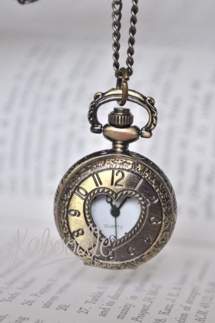Whisper of Love in Bronze - Small Pocket Watch Necklace