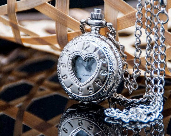 Whisper of Love in Silver - Small Pocket Watch Necklace