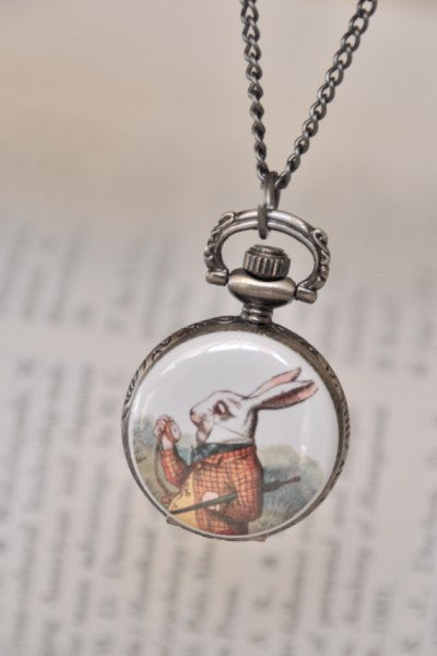 White Rabbit - Pocket Watch Necklace