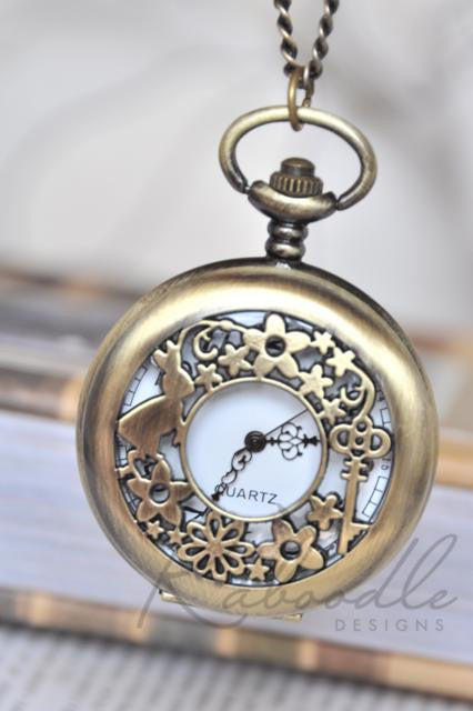 White Rabbit Garden - Large Pocket Watch Necklace