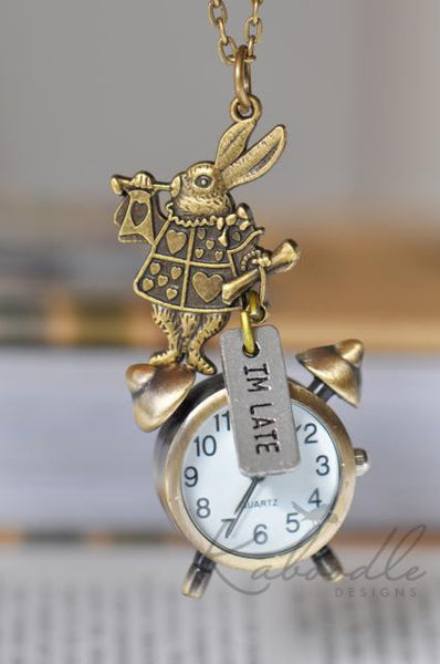 White Rabbit I'm Late Watch Necklace