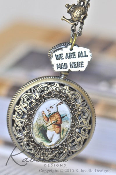 White Rabbit is Late with Charms - Large Pocket Watch Necklace