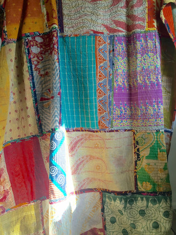 "Kantha Quilt - VINTAGE COTTON - ""PATCHWORK TECHNICOLOUR DREAM"""