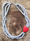 "Wooden bead necklace - Nandi (which means ""sweet"")  3 string with heart"