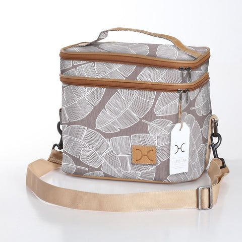 Thandana Double decker bag - Shelly Beach - white on stone