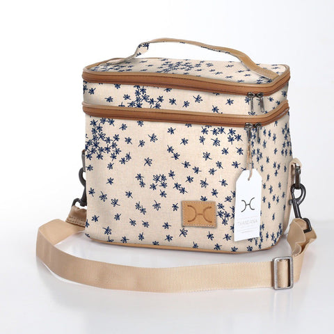 Thandana Double decker bag - Spice - black on latte
