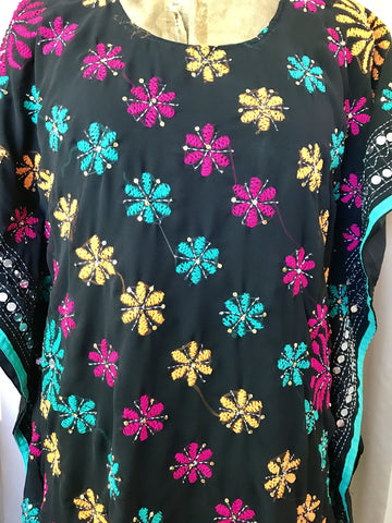 Embroidered Kaftan Dress - Black blossoms - (Large 12)