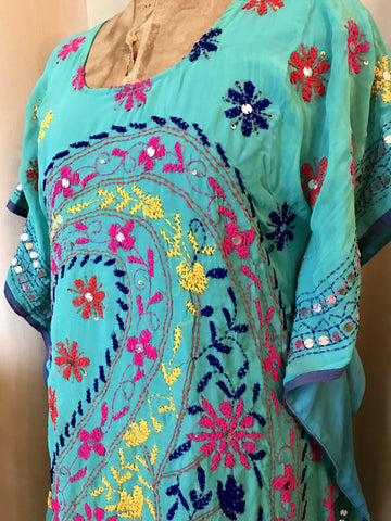 Embroidered Kaftan Dress - Turquoise Paisley - (medium 10)