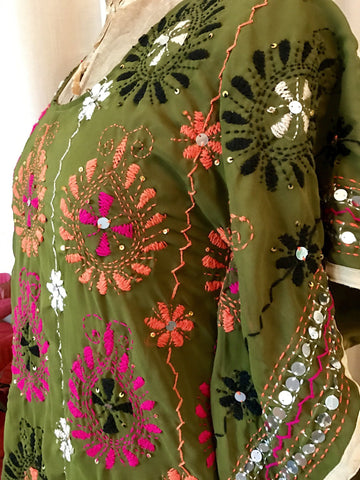 Embroidered Kaftan Dress - Olive Bursts (Medium 10)