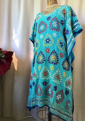 Embroidered Kaftan Dress - Turquoise Flower Hearts - (Medium 10)