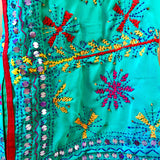 Embroidered Kaftan Dress - Windmills green - (Large 12)