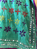 Embroidered Kaftan Dress - Green Starflowers (XL 14)