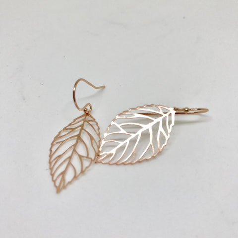Earrings - Rose Gold Leaf