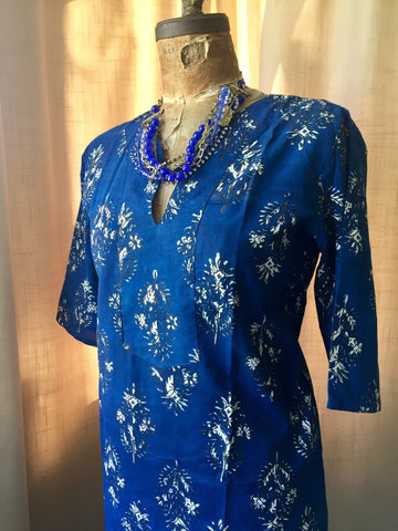 Tunic Dress, Cotton - BLUE BOUQUET