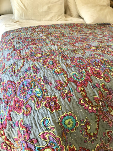 Kantha Quilt - NEW COTTON - HAPPY FLOWER MAUVE