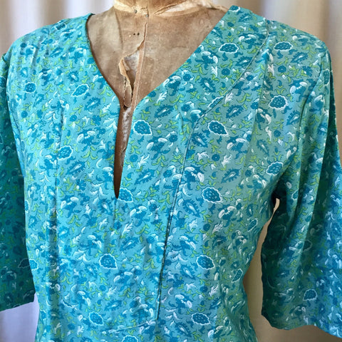 SILK TUNIC DRESS - Size S/M(10) - Untold Story Collection - Deep Ocean Bloomskl t8