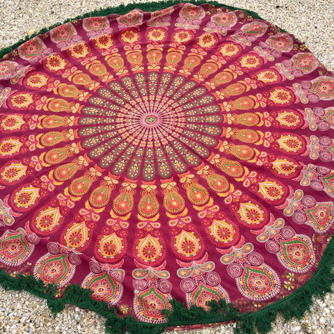 Roundie  Mandala Throw  - Salsa