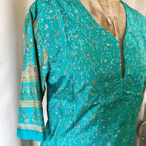 SILK TUNIC DRESS - Size M/L(12) - Untold Story Collection - Turquoise perfection