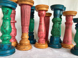 Wooden Pillar Candle holders - Pink and Orange