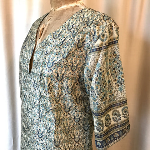 SILK TUNIC DRESS - Size M/L(12) - Untold Story Collection - Indigo Aqua Palace