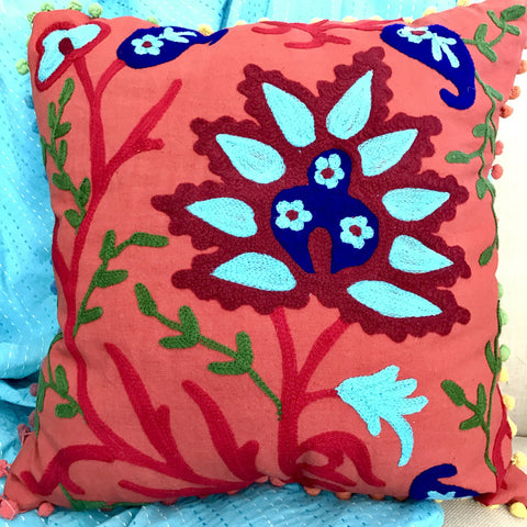 Happy Suzani Cushion - Bluebells
