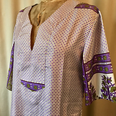 SILK TUNIC DRESS - Size M/L(12) - Untold Story Collection - Purple pops