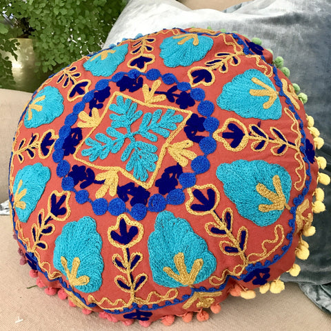 Happy Suzani Cushion - Oak Wheel