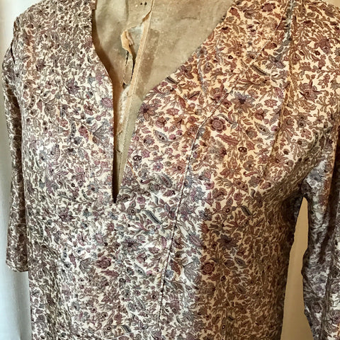 SILK TUNIC DRESS - Size S/M(10) - Untold Story Collection - Mink Paisley