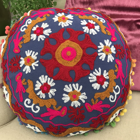 Happy Suzani Cushion - Daisy Carousel