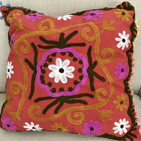 Happy Suzani Cushion - Whimsy Daisy