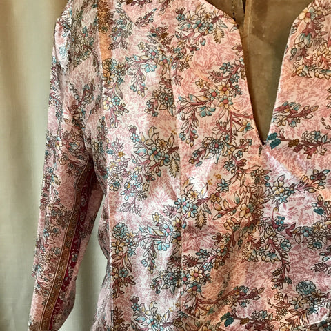 SILK TUNIC DRESS - Size M/L(12) - Untold Story Collection - Pink Petals