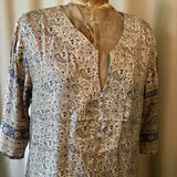 SILK TUNIC DRESS- Size XL(14) - Untold Story Collection - Vintage denim Paisley