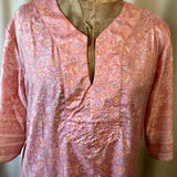 SILK TUNIC DRESS- Size XL(14) - Untold Story Collection - Blushing blossoms