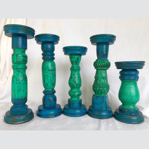 Wooden Pillar Candle holders - Blue and Green