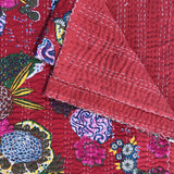 Kantha Quilt, NEW COTTON - BIG BLOSSOM - CHERRY RED