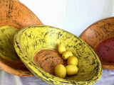 Wooden Bowl - Enormous - Yellow with orange inner