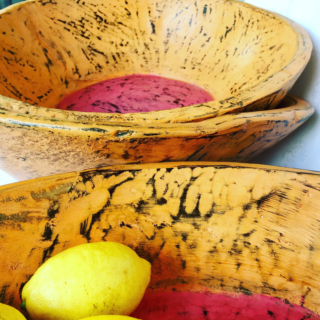 Wooden Bowl - Enormous - Orange with pink inner