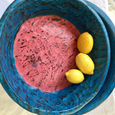 Wooden Bowl - Medium - Blue with pink inner