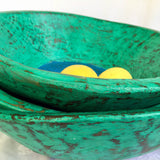 Wooden Bowl - Medium - Green with blue inner