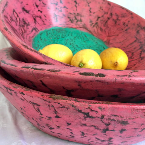 Wooden Bowl - Medium - Pink with green inner