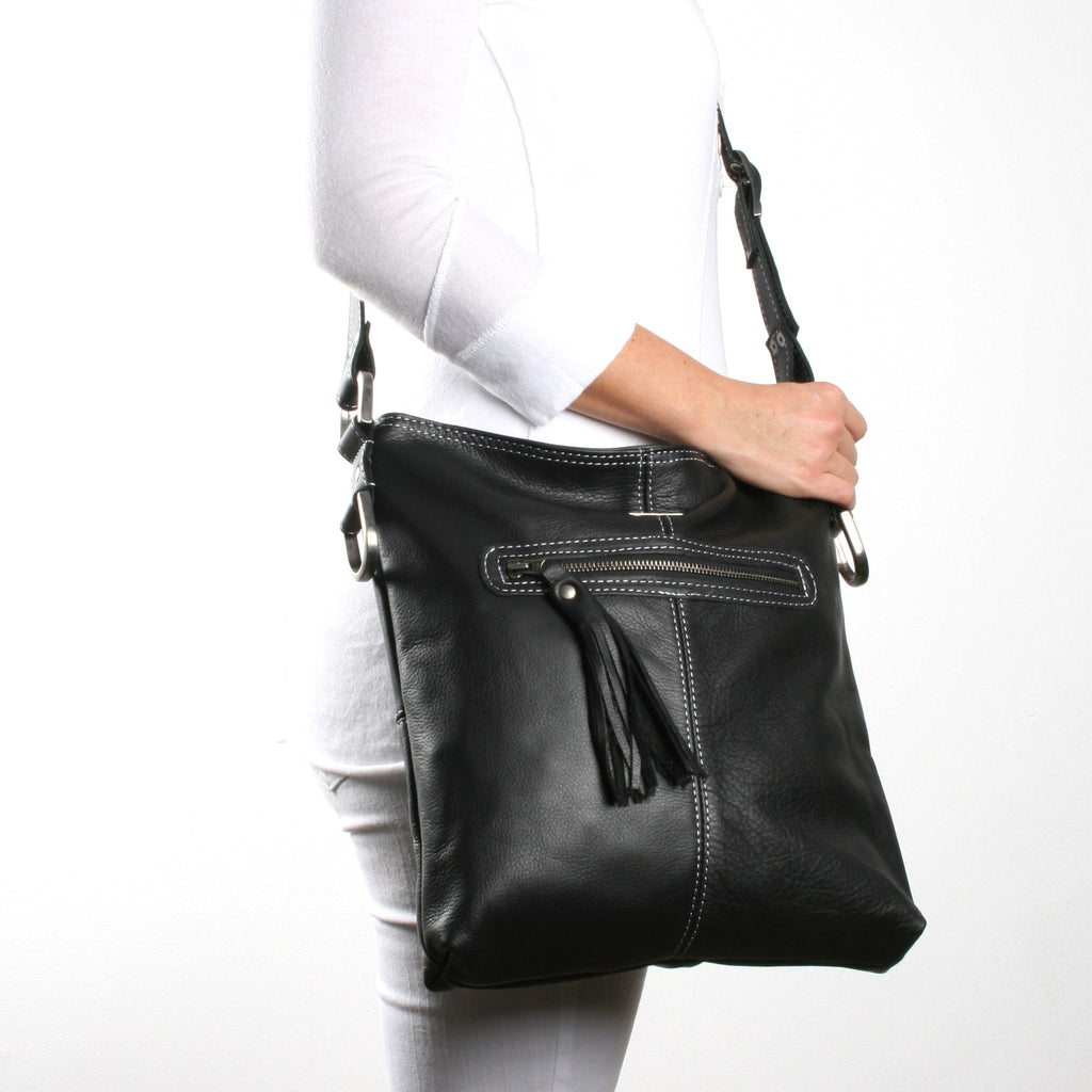 Thandana Messenger - leather Handbag - Black