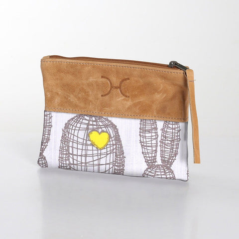 Thandana Pouch - Wire Rabbit - Grey on White