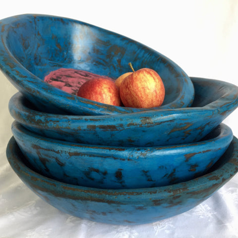 Wooden Bowl - Small - Blue with pink inner
