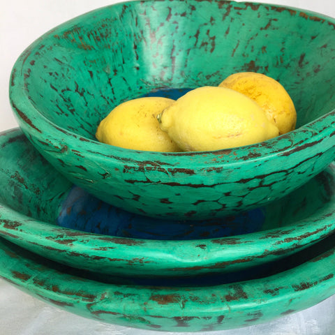 Wooden Bowl - Small - Green with blue inner