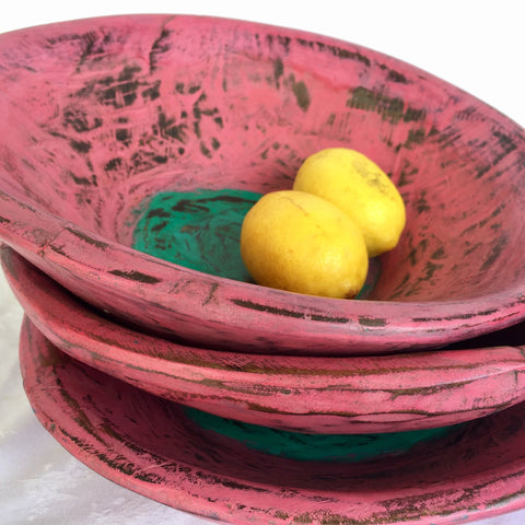 Wooden Bowl - Small - Pink with green inner