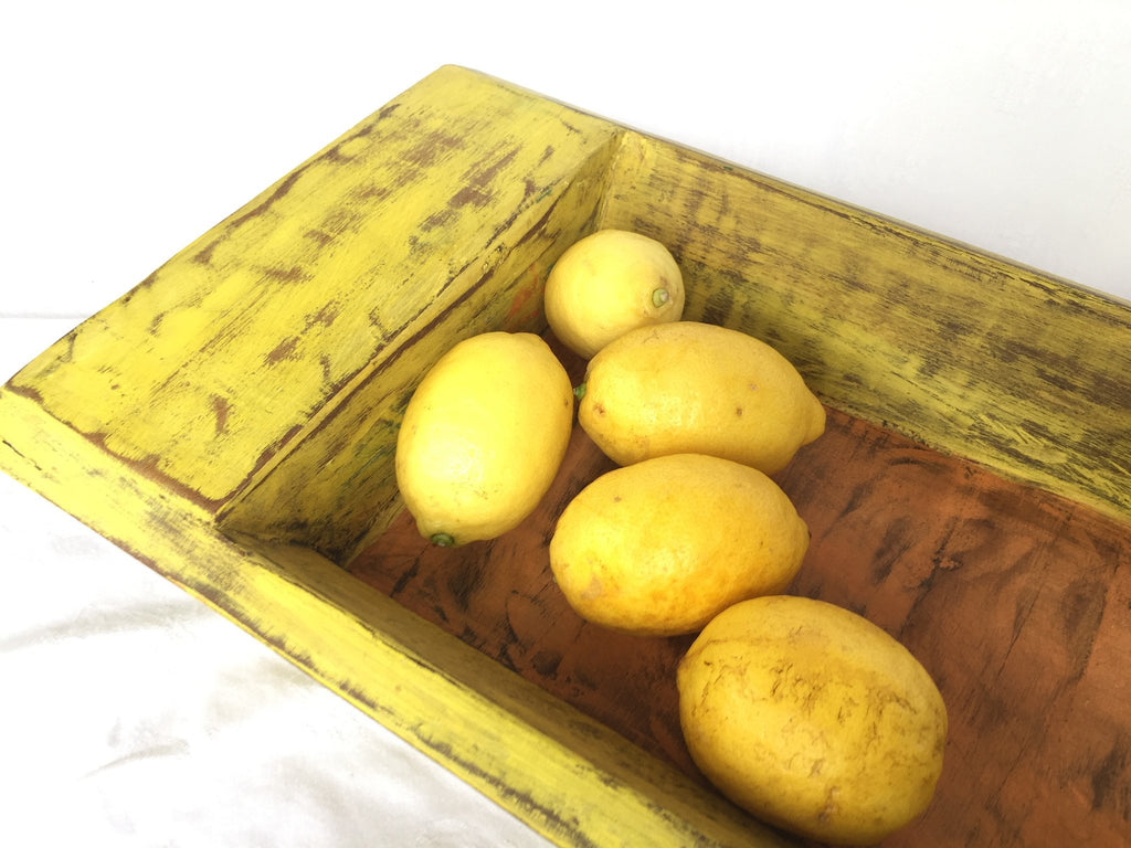 Wooden tray - Yellow and orange