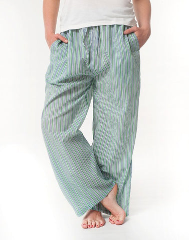 Cotton Drawstring Pants - Cool Stripe