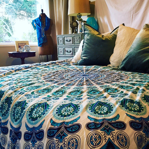 Mandala Tapestry Throw - Aqua Velva