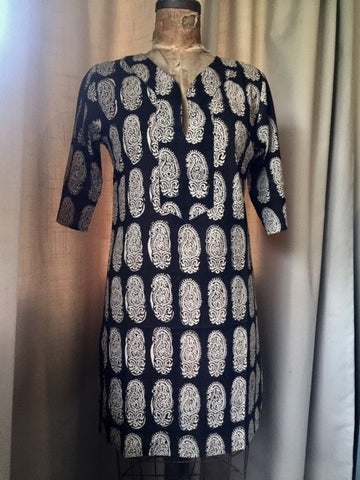 Tunic Dress, Cotton - Black Paisley