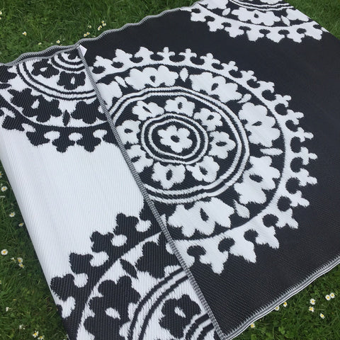Outdoor Mat - Flora - black and white  150x240cm